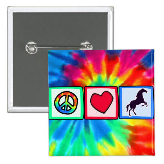 Peace, Love, Horses Button