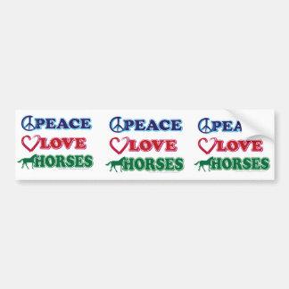 Peace-Love-Horses Car Bumper Sticker