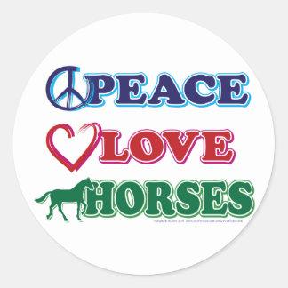 Peace-Love-Horses Classic Round Sticker