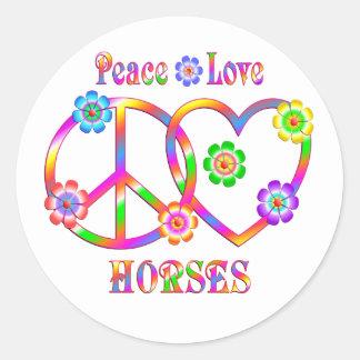 Peace Love Horses Classic Round Sticker