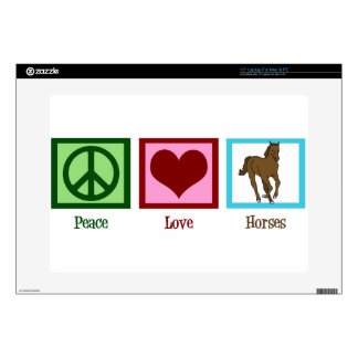 """Peace Love Horses Decal For 15"""" Laptop"""