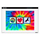 Peace, Love, Horses Decal For Laptop
