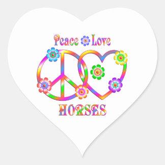 Peace Love Horses Heart Sticker
