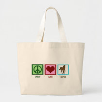 Peace Love Horses Large Tote Bag