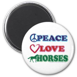Peace-Love-Horses Refrigerator Magnets
