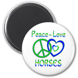 Peace Love Horses Refrigerator Magnet