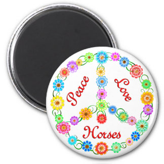 Peace Love Horses Fridge Magnet
