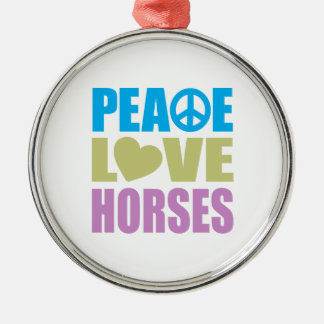 Peace Love Horses Round Metal Christmas Ornament