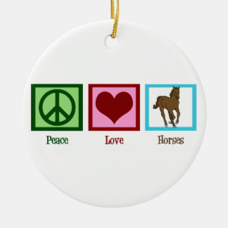 Peace Love Horses Double-Sided Ceramic Round Christmas Ornament