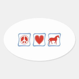 Peace Love Horses Oval Sticker
