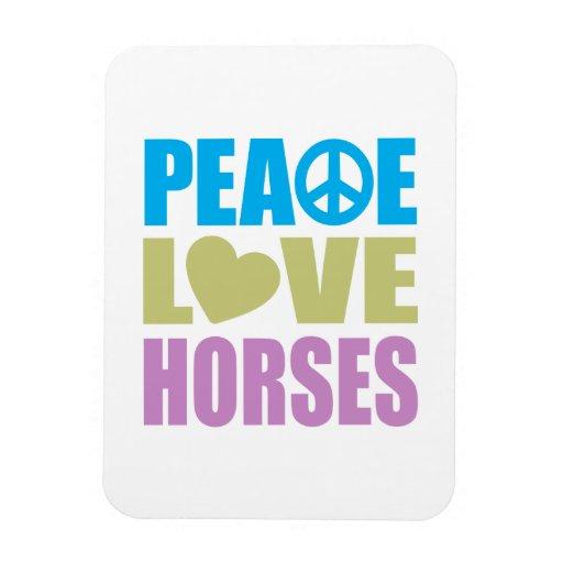 Peace Love Horses Rectangular Photo Magnet