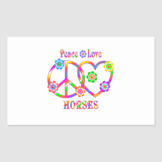 Peace Love Horses Rectangular Sticker