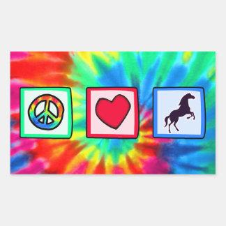 Peace, Love, Horses Rectangular Sticker
