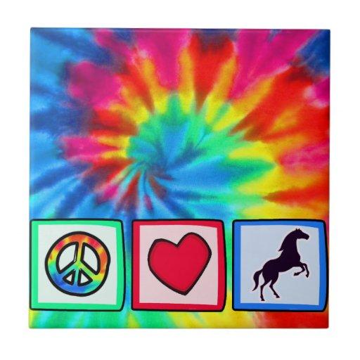 Peace, Love, Horses Small Square Tile