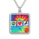 Peace, Love, Horses Square Pendant Necklace