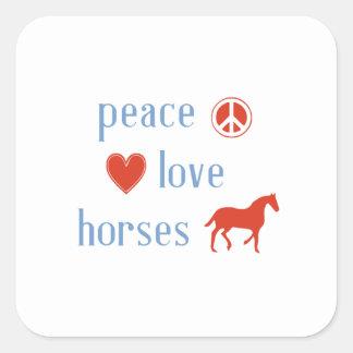 Peace Love Horses Square Sticker