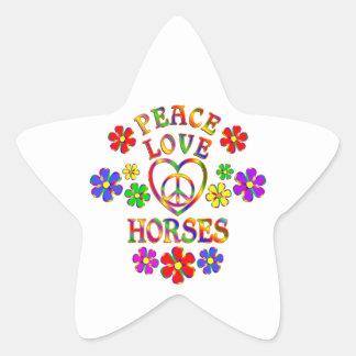 Peace Love Horses Star Sticker