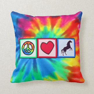 Peace, Love, Horses Throw Pillow