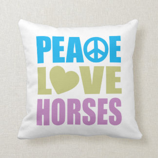 Peace Love Horses Throw Pillow