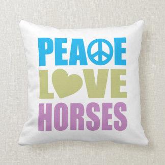Peace Love Horses Throw Pillows