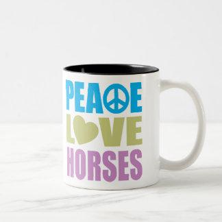 Peace Love Horses Two-Tone Coffee Mug