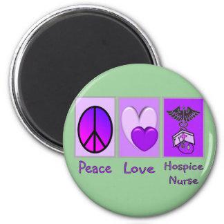 Peace Love Hospice Nurse (PURPLE) 2 Inch Round Magnet