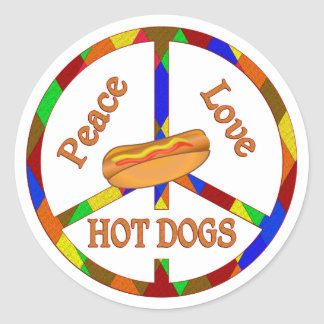 Peace Love Hot Dogs Classic Round Sticker