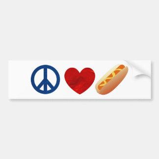Peace Love Hotdog Car Bumper Sticker
