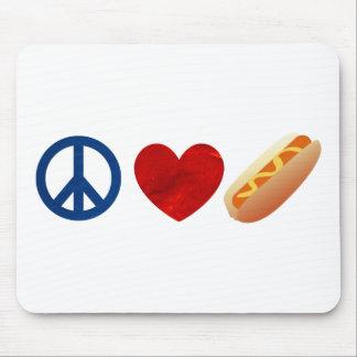 Peace Love Hotdog Mouse Pad