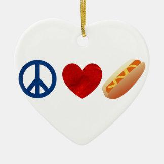Peace Love Hotdog Double-Sided Heart Ceramic Christmas Ornament