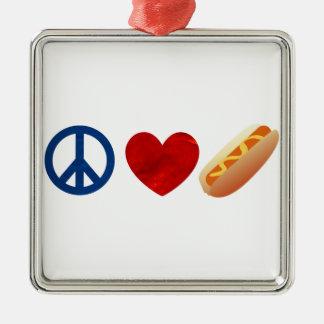 Peace Love Hotdog Square Metal Christmas Ornament