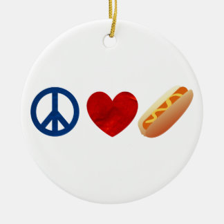 Peace Love Hotdog Double-Sided Ceramic Round Christmas Ornament
