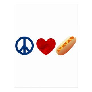 Peace Love Hotdog Postcard