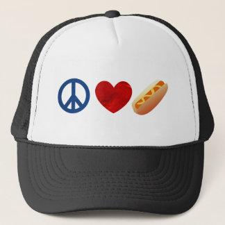 Peace Love Hotdog Trucker Hat