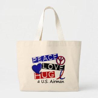 PEACE LOVE HUG A U.S. Airman T-Shirts Jumbo Tote Bag