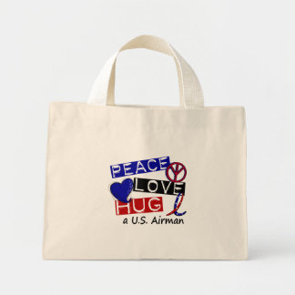 PEACE LOVE HUG A U.S. Airman T-Shirts Mini Tote Bag