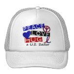 PEACE LOVE HUG A U.S. Sailor Shirts & Gifts Trucker Hats