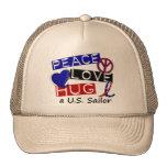 PEACE LOVE HUG A U.S. Sailor Shirts & Gifts Mesh Hat