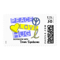 PEACE LOVE HUG Someone With Down Syndrome T-Shirts Postage