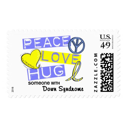 PEACE LOVE HUG Someone With Down Syndrome T-Shirts Postage Stamp
