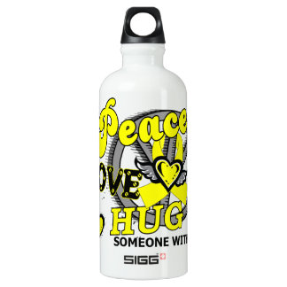 Peace Love Hug Spina Bifida Aluminum Water Bottle