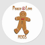 Peace Love Hugs Classic Round Sticker