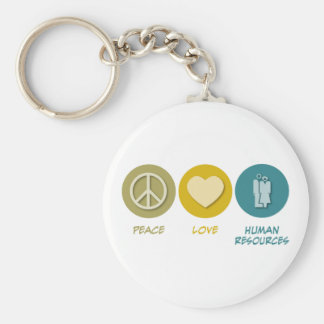 Peace Love Human Resources Basic Round Button Keychain