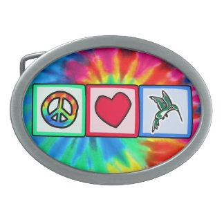 Peace, Love, Hummingbirds Belt Buckle