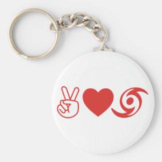 Peace Love Hurricane Basic Round Button Keychain