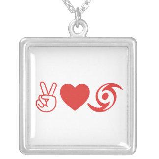 Peace Love Hurricane Square Pendant Necklace