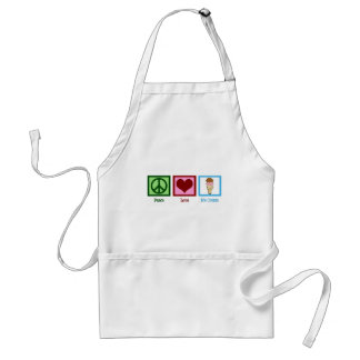 Peace Love Ice Cream Adult Apron
