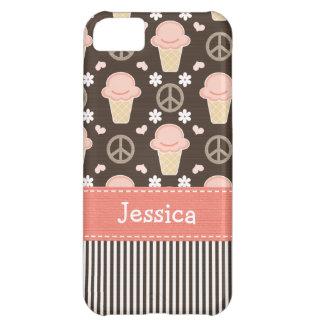 Peace Love Ice Cream Cone Cover For iPhone 5C