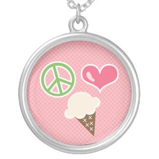 Peace Love Ice Cream Cone Necklace