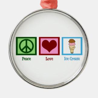 Peace Love Ice Cream Metal Ornament